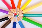 variety of color pencils closeup view background poster