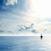 Picture of lonely sailing boat poster