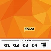 Triangular low poly orange background. Step one, two, three and four icons. Sequence of options symbols. Loading process signs. Calendar flat icon. Vector poster