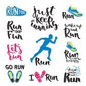 Set of running marathon logo and jogging emblems, labels and badges. isolated vector illustration. Running logo fitness training athlete symbols. Sprint jogging exercise running logo competition. poster