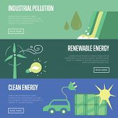Industrial pollution, renewable and clean energy vector illustration set. Wind turbine with eco lamp. Eco car with electric plug and solar panel. Water pollution from industrial factory. Clean energy concept. Energy of the Future. Renewable energy sources poster