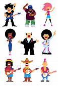 Singers silhouette of different musical genres set isolated on white background vector illustration. Singers isolated. Vector singers silhouette. Rockstar. Reggae singer. Rap singer. Singer cartoon people. poster