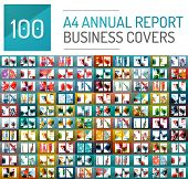 Mega collection of 100 business annual report brochure templates, A4 size covers created with geometric modern patterns - squares, lines, triangles, waves poster