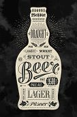 Poster bottle of beer with hand drawn lettering. Vintage drawing for pub, bar menu, beer card, t-shirt print and beer themes. Isolated black bottle of beer with lettering. Vector Illustration poster