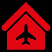 Aircraft Hangar icon. Glyph style is flat iconic symbol, red color, black background. poster