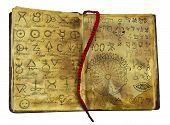 Alchemic book with mystic and fantasy symbols on shabby pages isolated. Halloween concept, black magic ritual with occult and esoteric signs poster