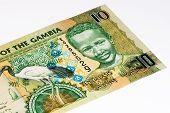 10 Gambian dalasi bank note. Gambian dalasi is the national currency of Gambia poster