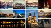 collage of different picturesque Prague sights and landscapes with architecture poster