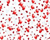 Beautiful balloons in the air on seamless hearts background poster