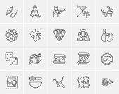 Hobby sketch icon set for web, mobile and infographics. Hand drawn hobby icon set. Hobby vector icon set. Hobby icon set isolated on white background. poster