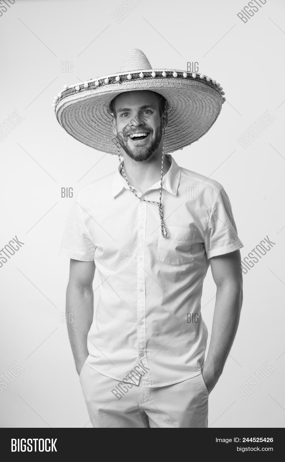 955c79722a4 Happy Man Smile In Sombrero Hat Isolated On White Background