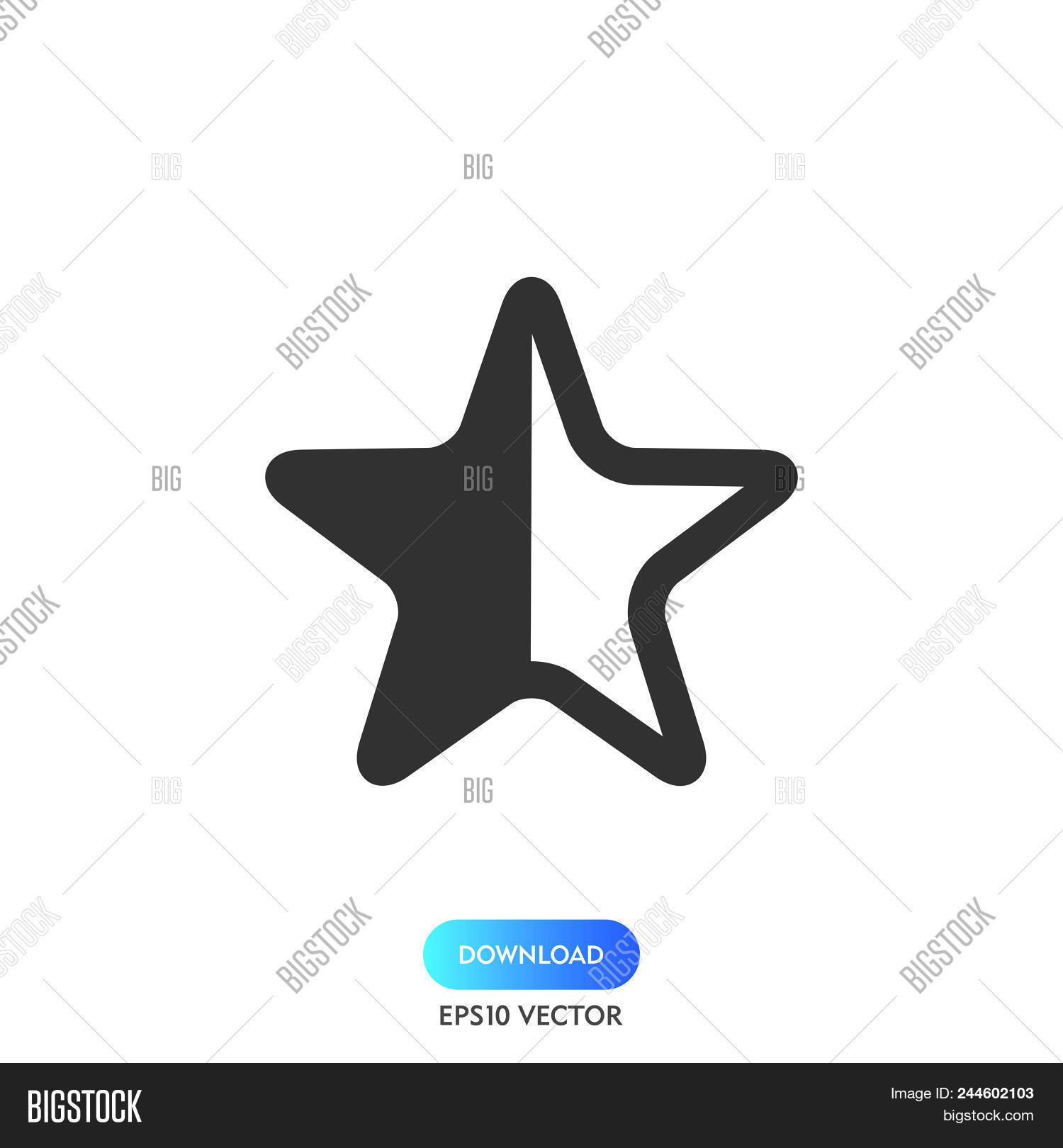 Half Star Icon Simple Vector Photo Free Trial Bigstock