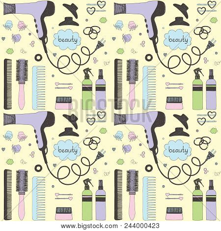 Salon beauty care seamless pattern. Colored hand drawn set of hair styling. Hair dryer, hairbrushes, sprays, scrunchy. Doodle style sketch vector items for background, web, corporate style elements. poster