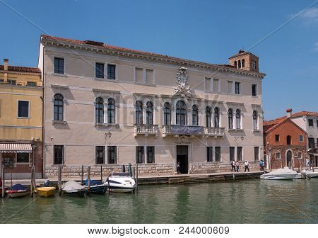 Venice, Italy - May 07, 2018: Museum Of Glass On The Island Of Murano. Venice. Italy. Behind The Mus