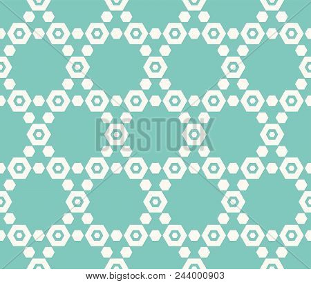 Hexagonal Grid Texture. Vector Seamless Pattern In Trendy Colors, Turquoise And Beige. Minimalist Or