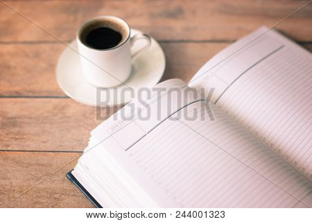Action Plan For The Day And Morning Coffee. The Concept Of Planning Actions For The Working Day.
