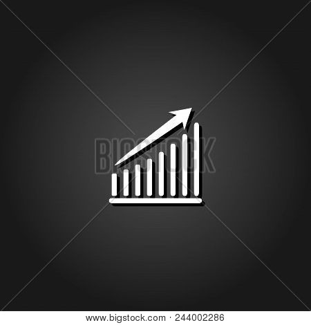 Graph Icon Flat. Simple White Pictogram On Black Background With Shadow. Vector Illustration Symbol