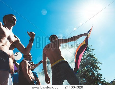 Strasbourg, France - Jun 10, 2017: Vintage Filter Over Caucasian Excited Gay Men People Dancing Wavi