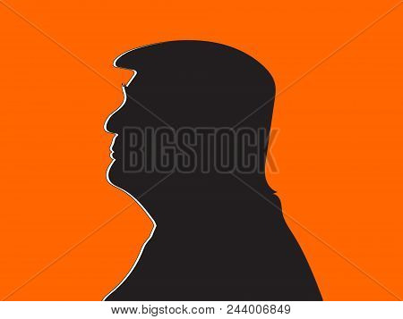 June 6 2018: A Vector Illustration Of President Donald Trump With White Shades On An Orange Backgrou