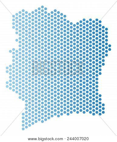 Hex-tile Ivory Coast Map. Vector Geographic Scheme In Light Blue Color With Horizontal Gradient. Abs