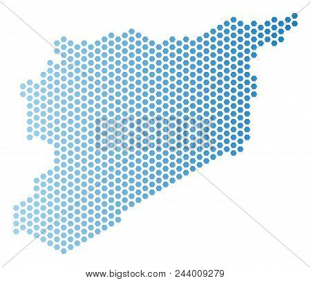 Hex-tile Syria Map. Vector Territorial Plan In Light Blue Color With Horizontal Gradient. Abstract S