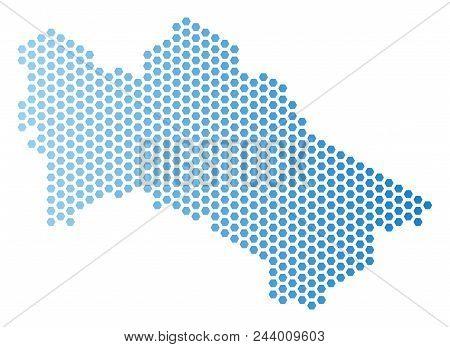 Hexagon Turkmenistan Map. Vector Territory Scheme In Light Blue Color With Horizontal Gradient. Abst
