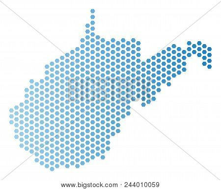 Hex-tile West Virginia State Map. Vector Territory Scheme In Light Blue Color With Horizontal Gradie