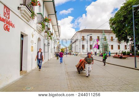 Popayan, Colombia - February 06, 2018: Outdoor View Of Unidentified People Walking In The Streets Of