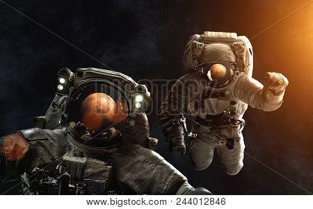 Astronauts In Front Of Mars. Solarsystem. Image In 5k Resolution For Desktop Wallpaper. Elements Of