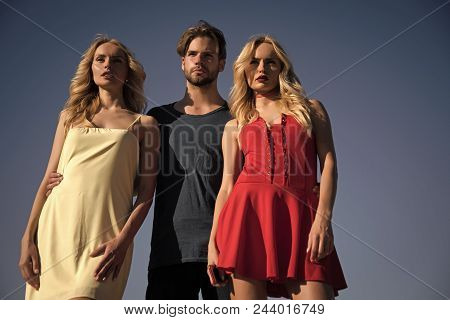Love Triangle. Man With Beard With Twins, Relations. Love Triangle And Romance. Beauty And Summer Fa