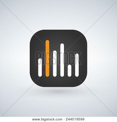Statistic Or Analitic Application For Mobile Phone. Line Flat Vector Icon, Button And Website Design