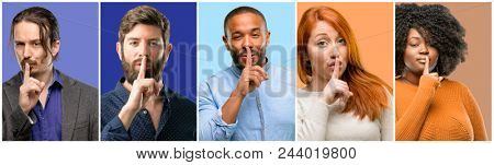 Group of cool people, woman and man with index finger on lips, ask to be quiet. Silence and secret concept