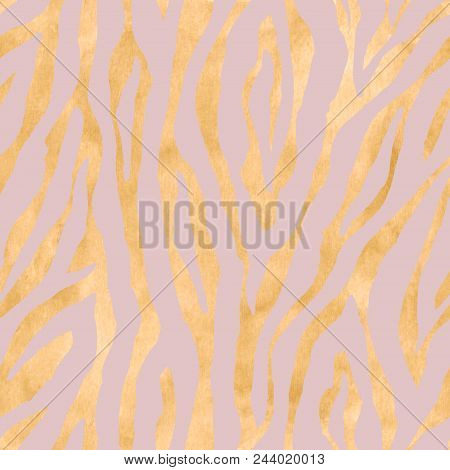 Abstract Geometric Stripe Gold Metal Seamless Pattern. Yellow Golden Hand Drawn Ornament On Pink Bac