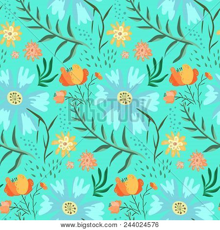 Tender Blue And Green Floral Summer Seamless Pattern With Accent Red Roses. Gentle Hand Drawn Textur