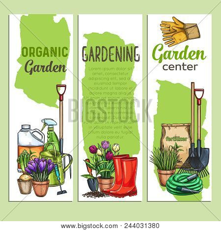 Vector Hand Drawn Gardening Banners With Tools, Flowers, Rubber Boots, Seedling, Tulips, Gardening C