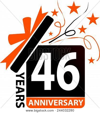 46 Years Gift Box Ribbon Anniversary Design Template Vector