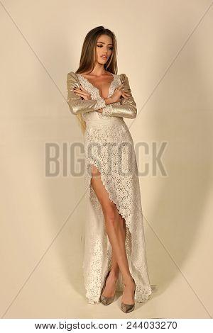 Beauty Fashion Model Girl. Fashion Look. Sensual Woman In Fashionable Folk Dress, Wedding. Folk Look