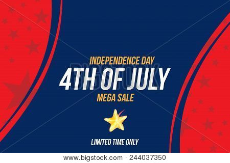 Horizontal Format Flyer Celebrate Happy 4Th Of July - Independence Day. Mega Sale And Hot Discounts.