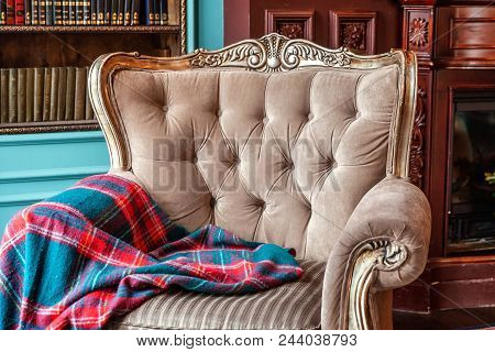 Luxury Classic Interior Of Home Library. Sitting Room With Bookshelf, Books, Arm Chair, Sofa And Fir