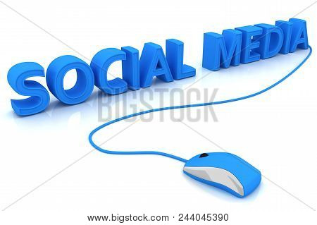 Computer Mouse And The Word Social Media. 3d Image Renderer