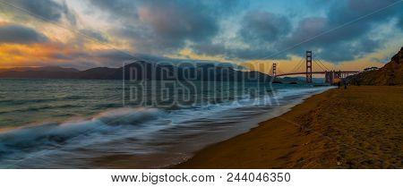 Summer Nights: Sunset At The Golden Gate Bridge From Baker Beach, San Francisco, California