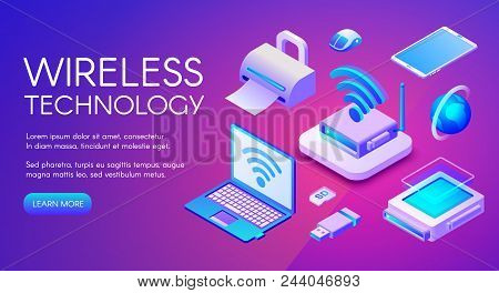 Wireless Technology Isometric Vector Illustration Of Wi-fi, Bluetooth Or Nfc Connection And Digital