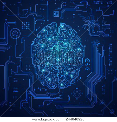 Concept Of Digital Technology Advancement, Shape Of Brain Combined With Electronic Board Pattern