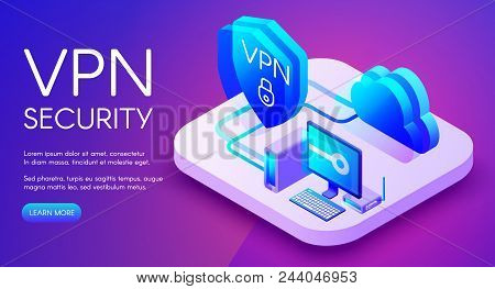 Vpn Security Technology Isometric Vector Illustration Of Digital Personal Data Protection Software.