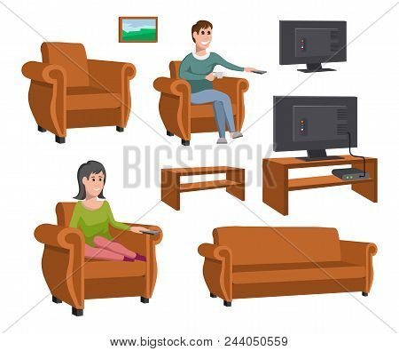 Big Happy Family Watching Tv On Sofa. Man With Coffee Cup. Evening Watching Television Series. Set O