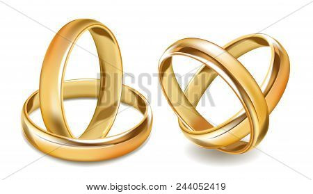 Gold Wedding Rings Vector 3d Realistic Icons. Isolated Set Of Gold Jewelry For Wedding Greeting Card