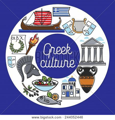 Greece Culture And Travel Landmarks Poster Of Famous Sightseeing Attractions Icons. Vector Design Of