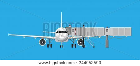 Airplane Front View. Passenger Or Commercial Jet With Aero Bridge Or Jetway. Telescopic Ladder For A