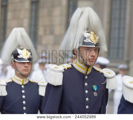 Stockholm, Sweden - Jun 06, 2018: Royal Guard Keeping The Order During Celebration Of The Swedish Na