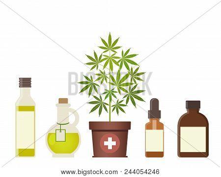 Marijuana Plant And Cannabis Oil. Medical Marijuana. Hemp Oil In A Glass Jar. Cbd Oil Hemp Products.